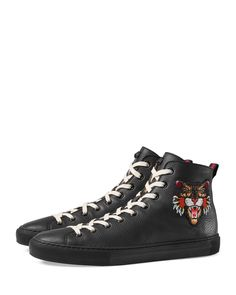 3be2717f28b Gucci Major Leather High-Top Sneaker with Appliqués Wool Socks