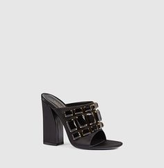 Gucci - Satin Sandal with Crystals 408307F14003120