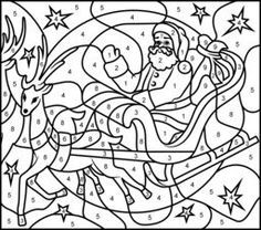 Flying Reindeer Printable Color By Number Page Hard Christmas Coloring Sheets Christmas Color By Number Coloring Pages