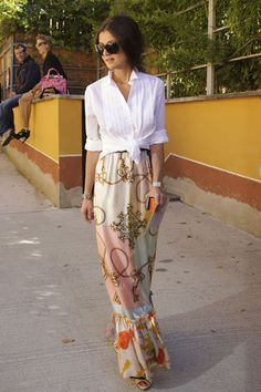 I Absolutely Love this combo... Maxi skirts are back for another season... lots of assymetrical combos as well