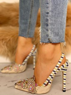 c03462a10b7 Rhinestone Embellished Striped Lace Insert Thin Heels Pretty Shoes