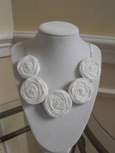 Fabric Rosette Necklace White Fabric Bib by JessieKateDesigns, $28.00