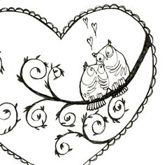 Lovey Owls Printable Embroidery Pattern by teenytinyhappythings