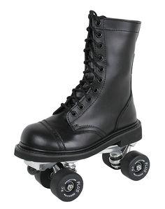 Black combat boot rollerskates!