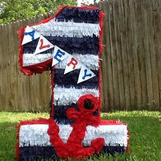 Nautical pinata number pinata 2ft number birthday by Mylittlesofy