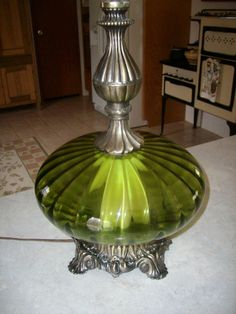 Vtg Hollywood Regency Mid Century UFO Atomic Age Green Glass Globe U0026 Brass  Lamp