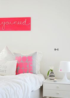 Just plain white with neon pink accents!! No need for more colors (or maybe a bit of light grey?)