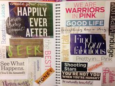 Love the idea of a page of slogans and titles cut from magazines.
