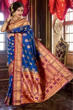 Royal blue pure silk zari weaved saree in purple pallu  Buy now @ Rs 7190