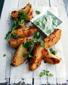 Moroccan Style Roast Potatoes with Coriander Yogurt