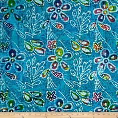 From Textile Creations, this Indian batik is perfect for quilting, apparel and home decor accents. Colors include various shades of aqua blue, purple, pink, orange, yellow, white and green.