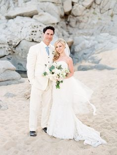 7d6ca3393ffc Get inspired by these beachy bridal looks from real weddings. Ali Michelle  Photography · the happy couple.