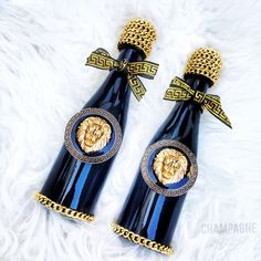Medusa Champagne Party Favors - Designer Champagne Gift - Black and Gold Bubbly - Glam Bottles - Bubbly Bar by ChampagneBisou on Etsy https://www.etsy.com/listing/267123740/medusa-champagne-party-favors-designer