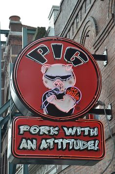 Pig on Beale - pork with attitude neon sign, Beale Street, Memphis, Tennessee, USA Vintage Neon Signs, Memphis Tennessee, Memphis Bbq, Roadside Attractions, Old Signs, Googie, Advertising Signs, Funny Signs, Neon Lighting