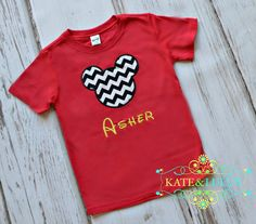 Personalized Mickey Mouse T-Shirt or Onesie- Mickey Mouse Shirt- Boys chevron  Mickey Birthday Shirt- Disney Vacation- Child's