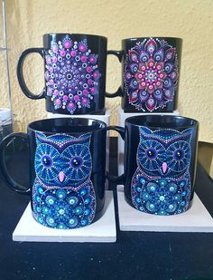 Your place to buy and sell all things handmade Dot Art Painting, Mandala Painting, Pottery Painting, Mandala Canvas, Mandala Dots, Painted Coffee Mugs, Painted Wine Glasses, Bottle Art, Stone Art