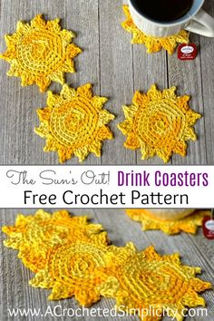 Crochet Motif Free Crochet Pattern - The Sun's Out! Crochet Drink Coasters by A Crocheted Simplicity - The Sun's Out! Crochet Drink Coasters are a super quick crochet project and are great for gifts, or to add some summer fun to your entertaining space! Quick Crochet, Crochet Home, Crochet Gifts, Knit Crochet, Thread Crochet, Crochet Motif, Crochet Potholders, Crochet Stitches, Doilies Crochet