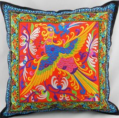 National embroidery trend flowers pillow cover