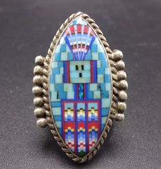 Signed DAVID FREELAND Jr Sterling Silver TURQUOISE Micro Inlay RING, size 7.75