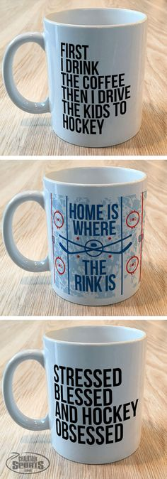 Fun coffee cups inspired by hockey life are a great gift to others or for yourself whether you're a hockey player, hockey parent or a hockey fan!