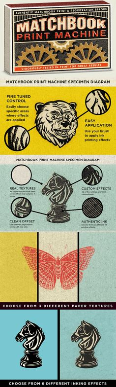 Matchbook Print Machine - This easy to use Smart PSD uses smart objects, and cleverly set up files, to make...