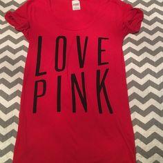 Red Victoria's Secret PINK tee Love PINK tee! Size small PINK Victoria's Secret Tops Tees - Short Sleeve