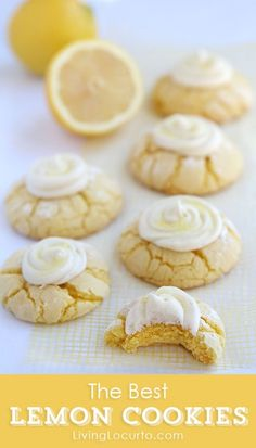 Lemon Crinkle Cookies Recipe with Lemon Frosting. Livinglocurto.com