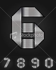 Number metal chromium ribbon - 6-0 Royalty Free Stock Vector Art Illustration