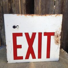 Industrial Salvage Rustic old Metal Exit Sign - Architectural Chic - Loft Warehouse Man Cave Decor Masculine Boys Bedroom Dorm