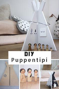 Spieltipi aus Holz selber machen. Wie du ein Puppenhaus der etwas anderen Art selber machen kannst. Spielzeug DIY: ein Puppentipi Diy Holz, Toddler Bed, Furniture, Home Decor, Toy Diy, Games, Child Room, Puppets, Diy