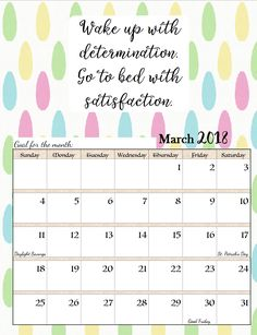 March 2018 Motivational Calendar