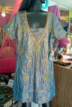 One of a kind 2tone silk heavily beaded tunic