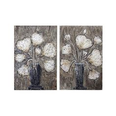 """Uttermost 41424 Clear Water Stems 31"""" Wide Canvas Art Hand Painted (1,560 SAR) ❤ liked on Polyvore featuring home, home decor, wall art, canvas art, hand painted canvas, wall decor, canvas home decor, uttermost wall art, canvas wall art and uttermost home decor"""