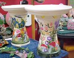 painted-clay-pot-bird-baths