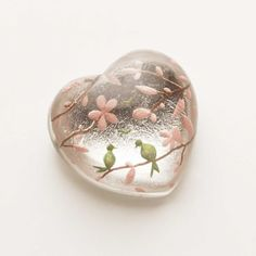 crystal heart with little birds and pink flowers, I love it