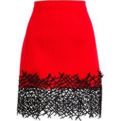 CHRISTOPHER KANE Cobweb Hem Wool Mini-Skirt ($1,045) ❤ liked on Polyvore