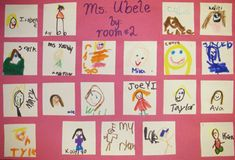For this project students drew a small portrait of every person in their class. We then exchanged portraits so every student got 24 pictures of themselves back, all drawn by a different classmate.  The above example is a collage of the pictures given to me by a class of Kindergarten students.