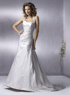 A-line Halter Court Trains Sleeveless Satin Wedding Dress