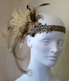 Whiskey Nymph Peacock Feather Flapper Headband