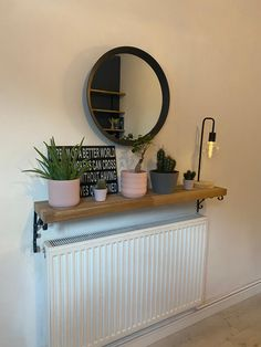 Home Room Design, House Design, Radiator Shelf, Hallway Shelf, Narrow Hallway Decorating, Small Apartment Interior, Hallway Inspiration, Small Hallways, Hallway Designs