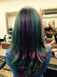 Teal blue and purple hair colors