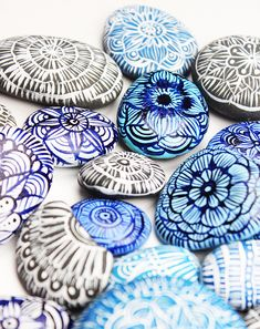 DIY Idea for home decor or wire wrapped jewelry: hand painted river rocks