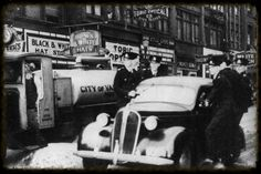 Patrol officers headed to a call while on the sidesteps of police car, date unknown. Police Cars, Old Pictures, Vancouver, Growing Up, Canada, History, City, Twitter, Vintage