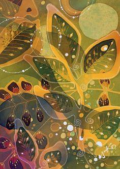 植物イラスト バティック・葉(4)新緑の葉と緑の月