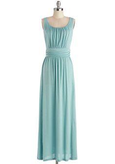 Near Mist Dress - Long, Jersey, Knit, Mint, Solid, Ruching, Casual, Maxi, Sleeveless, Better, Scoop, Beach/Resort