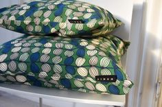 Bayswater cushion cover from LinumAW15 in meadow green. linumdesign.com