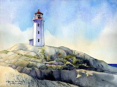 Peggy's Cove Lighthouse . watercolor illustration