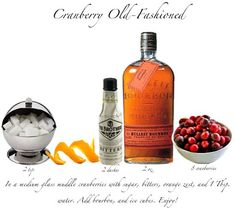 Thanksgiving #cocktail for next Mon's party: Cranberry Old Fashioned recipe: