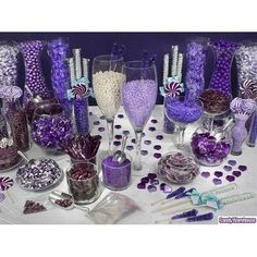 purple candy bar wedding-ideas I dunno if you wanna do candy but this fit your color scheme
