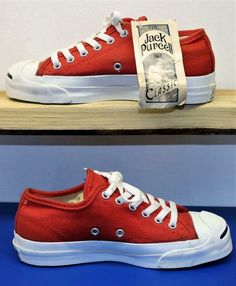 51b532f3301c50 CONVERSE JACK PURCELL VINTAGE SHOES RED CANVAS MADE IN USA DEADSTOCK SIZE 4  wow Converse Jack